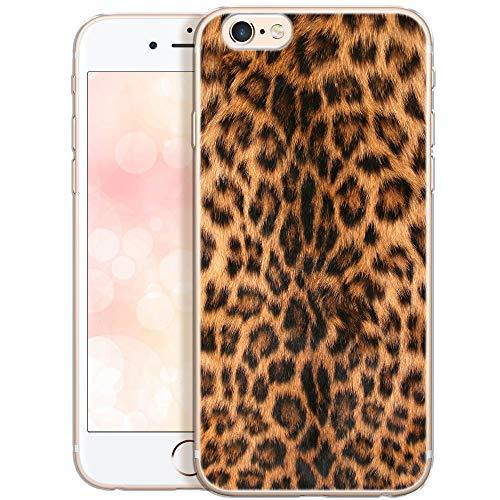 QULT Custodia Compatibile con iPhone 6S Plus iPhone 6 Plus Cover Silicone Morbido Trasparente Chiaro Cristallo Anti-Scratch Bumper Case per iPhone 6/6S Plus con Disegni Leopardo