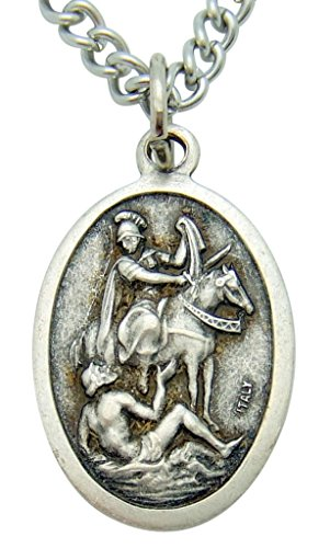 Westman Works Saint Martin of Tours Patron Saint Medal 3/4 Inch Long with Stainless Steel Chain