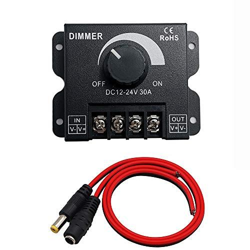 Greluma 1 Pieza PWM 12V 24V 30A/720W Controlador de Atenuación LED para Tira de Iluminación LED de un Solo Color Lámpara de Cinta Luz de Cinta Control de Botón Negro Brillo (Cable de DC Incluido)