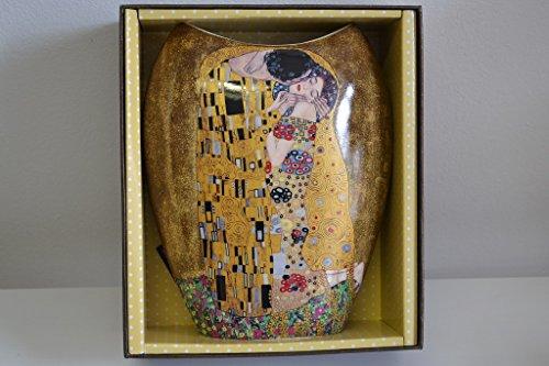 Atelier Harmony Gustav Klimt Vase Motiv Der Kuss Porzellan LE BAISIER Schwarz (Beige/Gold)