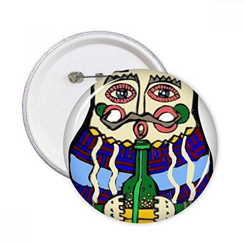 Drinken Wijn Rusland Russische Matroesjka Nesting Poppen Vrouwelijke Ronde Pinnen Badge Knop Kleding Decoratie Gift 5 stks XXL