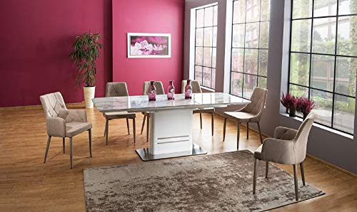 Carier Marble Top and White High Gloss Modern Extendable Dining Table