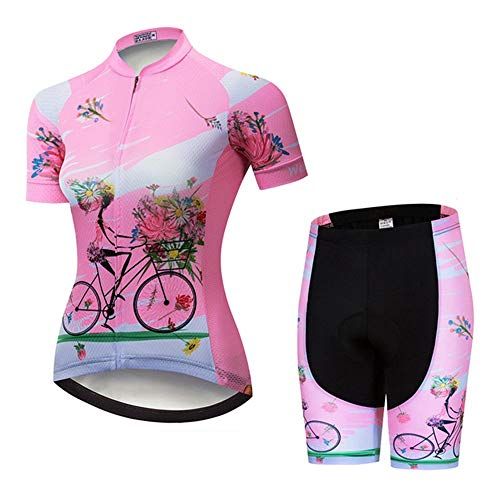 GET Conjunto de Maillot de Ciclismo para Mujer, Trajes de Ciclismo de Verano MTB de Secado RáPido Ropa de Bicicleta Transpirable de Manga Corta (Color : C, Talla : M)