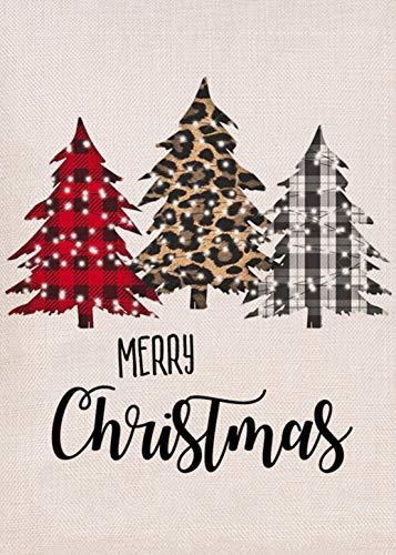 Furiaz Merry Christmas Garden Flag, Xmas Tree Home Decorative House Yard Small Flag Buffalo Plaid Check Leopard Decor Double Sided, Winter Holiday Outdoor Decoration Seasonal Outside Burlap Flag 12x18