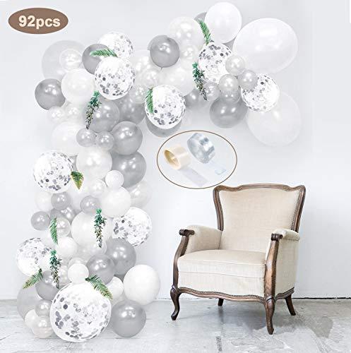 specool 92 Stück Latex Luftballons Weiß, Silber und Silber Konfetti Ballons Party Luftballons Perfekt für Geburtstagsfeier Hochzeit Party und Kinder Dusche Party,Festival Dekoration