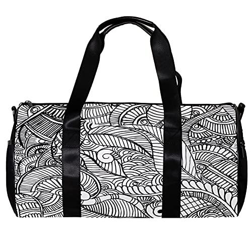 Bolsa de viaje para mujeres hombres negro blanco mandala henna deportes gimnasio bolsa de viaje de fin de semana al aire libre bolsa de equipaje