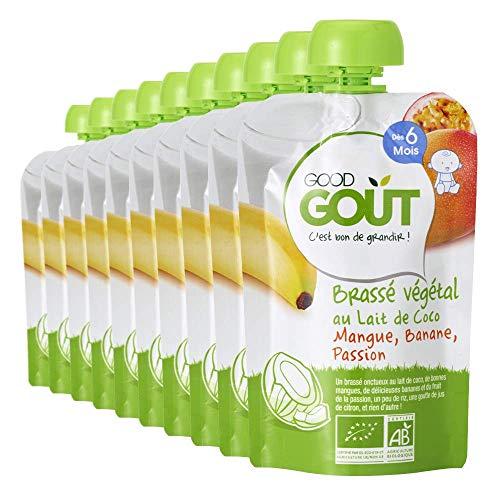 Good Goût - BIO - Brassé Lait de Coco Mangue Banane Passion Bio Dès 6 Mois - Pack de 10