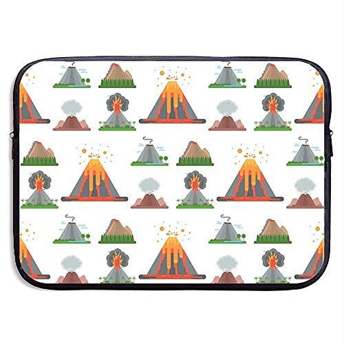 Volcano Magma Natuur opblazen met rook 15 Inch Laptop Sleeve Tas Draagbare Rits Laptop Tas Tablet Tas