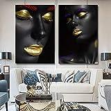 ganlanshu Cartel de Arte de Pared Modelo Femenino Negro Moderno e Imagen Impresa decoración del hogar,Pintura sin Marco,30X45cmx2