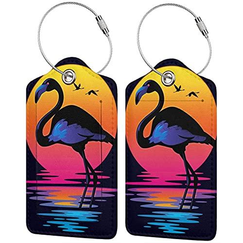 Etiquetas de equipaje de flamenco, cuero de microfibra personalizado maleta Tag Set etiquetas de identificación de equipaje, accesorios de viaje 2 piezas