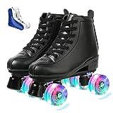 XUDREZ Roller Skates for Women Men High-top PU Leather Roller Skates Shiny Four Wheels Roller Derby Skates White Black Roller Skates for Girls Boys (Black Flash Round Shoe Bag,40=US:7.5)