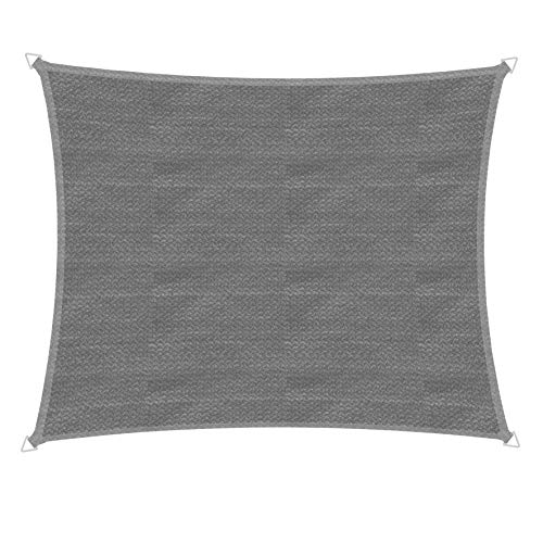 Windhager Segel Sonnensegel Capri Rechteck 3 x 4 m, Sonnenschutz für Garten & Terrasse, UV-und witterungsbeständig, grau, 10761