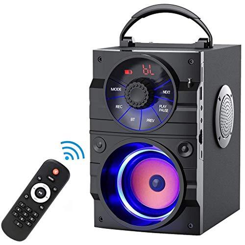 Altavoces portátiles Altavoces Bluetooth Portátiles, Altavoz Exterior Inalámbrico Subwoofer Heavy Bass, Admite Tarjeta TF de Radio FM con Control Remoto, Pantalla LCD, para El Teléfono de Fiesta En Ca