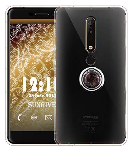 Sunrive Für Nokia 6 Version 2018/Nokia 6.1 Hülle Silikon, Transparent Handyhülle 360°drehbarer Ständer Ring Fingerhalter Fingerhalterung Luftkissen Schutzhülle Etui Hülle(Schwarzer Marmor) MEHRWEG