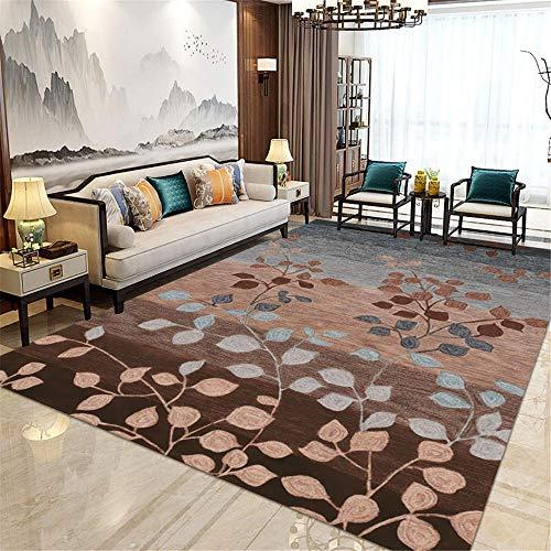 Alfombra alfombras habitacion Juvenil Alfombra Suave con diseño de Hojas marrón Azul grisáceo fácil de Limpiar Alfombra Escalera alfombras Salon 140X200CM