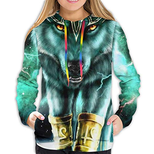 Girls Ladies Fit Long Sleeves Sweatshirts Pullover Winter Autumn Tops for Exercise Fishing Sports, 3D Pattern Print Hoodie With Kangaroo Pockets (Mountain And Northern Light Wolves Psychedelic Forest)