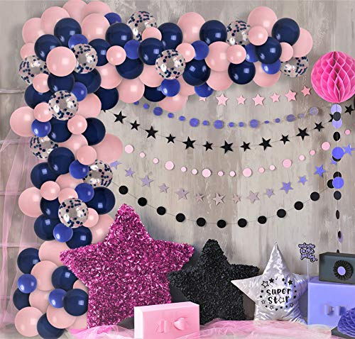 Treasures Gifted Pale Pink Navy Blue Balloon Garland & Arch Kit Pink Navy Blue Confetti Balloons Gender Reveal Party Decorations for Wedding Bridal Shower Party Birthday Baby Shower Party Supplies
