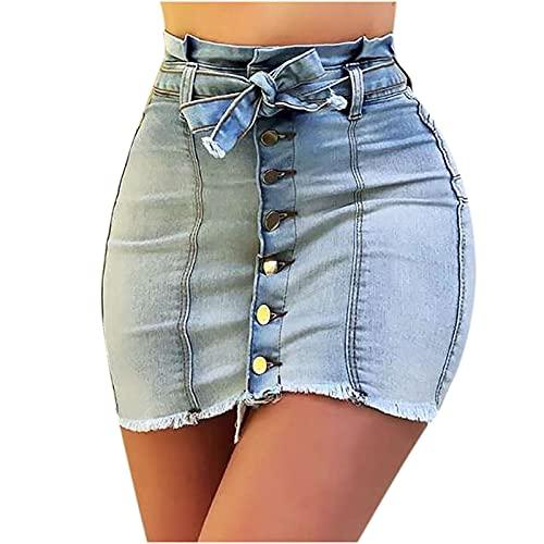 Zarupeng Damen Sexy Bodycon Löcher Hüftrock Knielang Jeansrock Beiläufiger Hohe Taillen Zerrissen Denim Bleistiftrock mit Reißverschluss