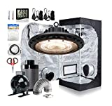Hydro Plus 24''x24''x48'' Small Grow Tent Complete Kit+New Tech UFO LED Grow Light 100W+4'' Inline Fan Filter Kit for Hydroponic Growing Kit