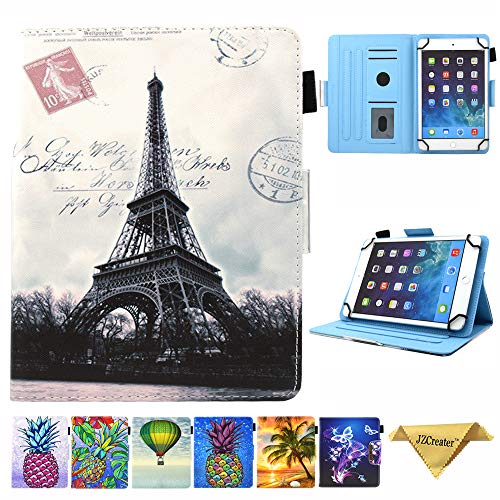 6.5-7.5 Inch Tablet Universal Case, JZCreater Stand Wallet Case for Samsung Galaxy Tab/F ire 7.0 2015 2017/ Huawei Mediapad/Google and More 6.5'-7.5' inch Table, Paris Tower