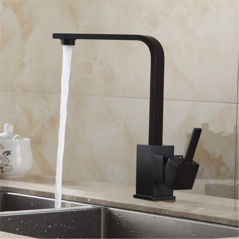 Küchenarmaturen Messing Spüle Wasserhahn 360 Drehen Swivel Wasserhahn Mixer Einzelhalter Einlochmontage Schwarz Mischbatterie 711