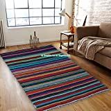 Alfombra de chindi, hecha a mano, reversible, de algodón, para decoración del suelo del hogar (1,8 x 1 m)