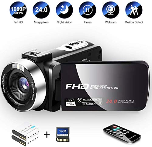 Camcorder Digital Camera with IR Night Vision HD Digital Video Camera 24.0Mega Pixels 16X...