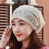 WUTOLUOHANS Beanie Caps for Frauen, einfache Wild Lace Stickerei atmungsaktiv Slouchy Cap -