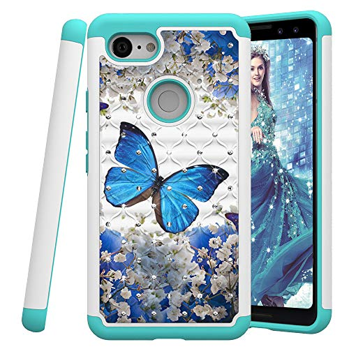 COTDINFOR Google Pixel 3 Case for Girl Cute Bling Diamond Cover Dual Layer Silicone Plastic Armor Defender Shock Absorbing Case for Google Pixel 3. 2 in 1- Blue Butterfly YB