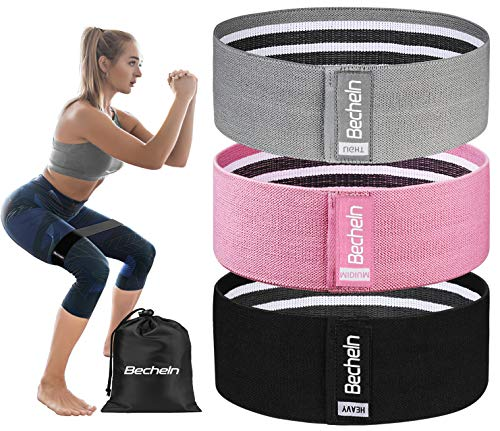 Becheln Non Slip Resistance Bands for Legs and Butt Hip Workout Exercise Bands Fabric Glute Bands for Women 3 Pack Training Ebook and Video Included