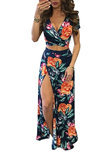 Aro Lora Women's Sexy V Neck Floral Printed Side Slit Two-Piece Maxi Dress Medium