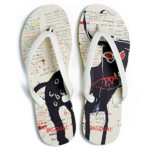 Tidal Jean-Michel Basquiat Flip Flop Men White with Black Bull Polyerethane Construction Made in The USA (10)
