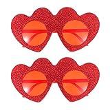 Amosfun 2 Pezzi a Forma di Cuore Occhiali da Sole San Valentino Decorazione Occhiali da Vista Occhiali per Feste in Costume Festa in Spiaggia (Rosso)