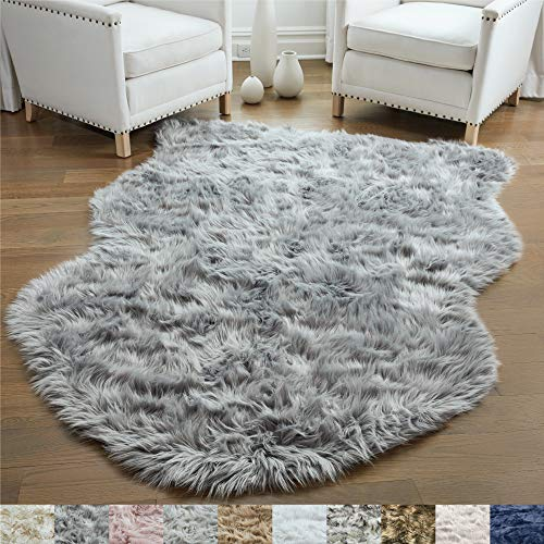 Gorilla Grip Original Premium Faux Sheepskin Fur Area Rug, 3x5, Softest, Luxurious Shag Carpet Rugs for Bedroom, Living Room, Luxury Bed Side Plush Carpets, Sheepskin, Gray