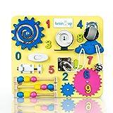 幼児用ビジーボード 知覚ボード 子供用木製ビジーボード 1~3才の幼児用アクティビティボード 鎖錠と掛け金アクティビティボード ベビーアクティビティボード 幼児教育玩具