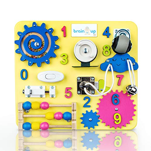 Busy Board for Toddlers - Sensory Board - Wooden Busy Board for Kids - Activity Board for Toddlers 1-3 - Locks and Latches Activity Board - Baby Activity Board - Toddler Educational Toys