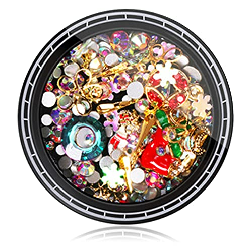 IOOOFU 1 Box Christmas Nail Rhinestones Charms Metal Studs DIY Nail Art Decor - 1#