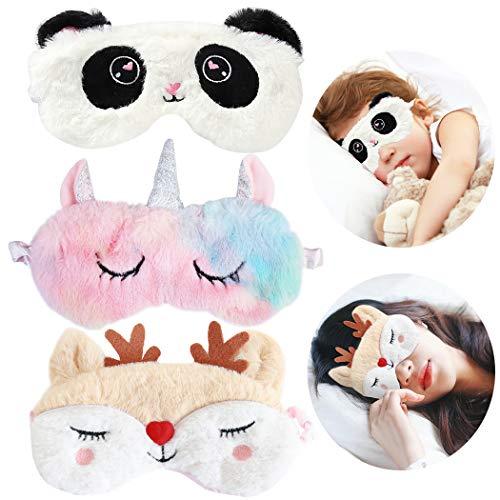 Fascigirl 3Stk Schlafmaske Kinder, Schlafmaske Mädchen Augenklappe Schlafen 3D Süße Lustig Schlafbrille Einhorn Augenmaske Daydream Ideal für Tempur Reisen Nickerchen Nacht
