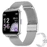 Smartwatch Mujer Hombre Reloj Inteligente IP68 con 17 Modos de Deporte, Pulsómetro, Monitor de Sueño, Notificaciones Inteligentes, 1.3 Pulgadas Pantalla Táctil Completo Smartwatch (Plata)