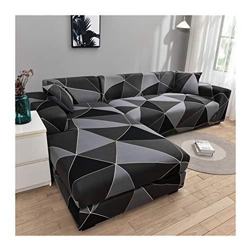 ZIJ Cubierta de sofá Cubierta de sofá geométrico Cubierta de sofá elástica para Sala de Estar Mascotas Corner L Caja con Forma de sofá Longue Sofá 1pc (Color : Color 10, Talla : 4 Seater 235 300cm)