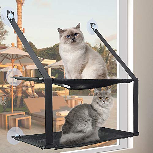 Cat Window Perch Window Hammock for Large Cat Double Resting Cat Window Seat Pet Durable Bed Safety Space Saving Holds for Any Indoor Cat Size 6 Suction Cups