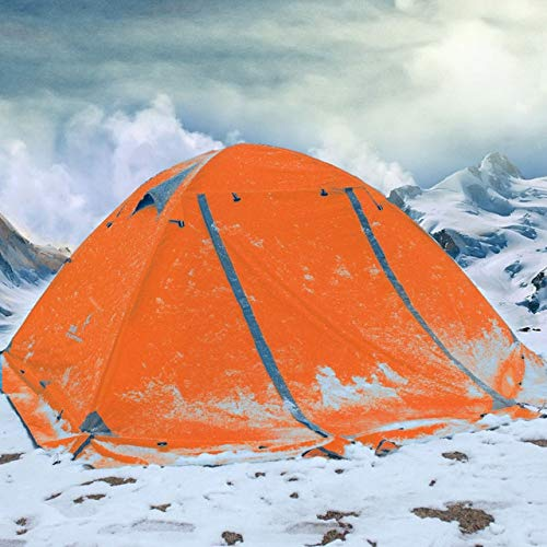 Mdsfe FLYTOP 3 person double layer rainproof windproof outdoor camping tent with snow skirt-Orange,A1