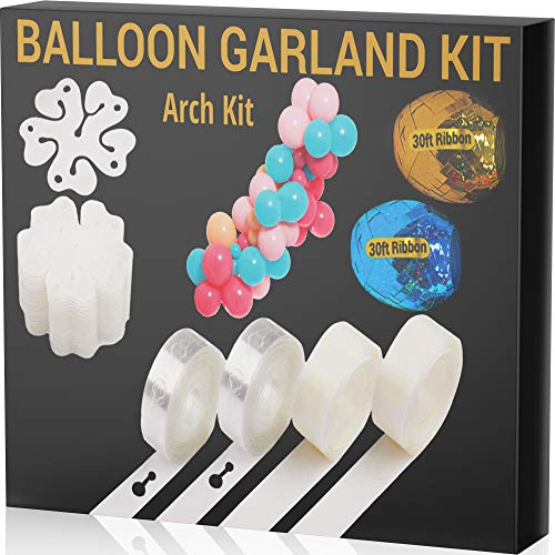 JOYEZA Balloon Arch Kit Garland Strip Decorating Strip Kit - 32ft Tape Strips 200 Glue Dots, 60ft Ribbons & more - 100% Lifetime Satisfaction Guarantee for Parties Wedding Birthdays