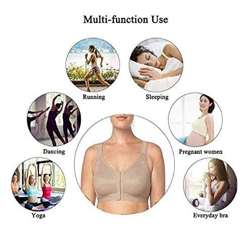 Women MagicLift Wireless Posture Support Bra Back Support Posture Corrector Wireless Bra Adjustable Front Closure Complete Comfort Sport Yoga Sleep Bra no Padded (Black, L)