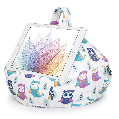 iBeani iPad, Tablet & eReader Bean Bag Stand/Cushion - Tablet Holder for All Devices - Comfort & Stability at Any Viewing Angle - Helps Avoid RSI - Owl Print