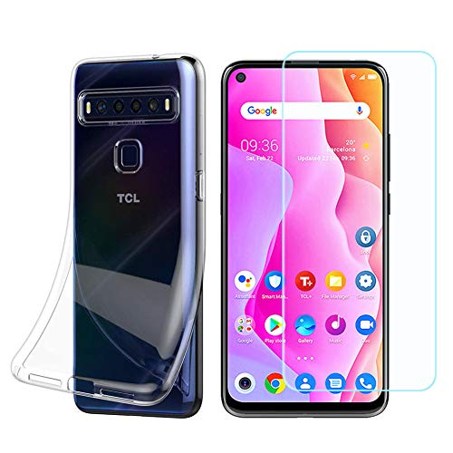 Ytaland for TCL 10L Case Case,with Tempered Glass Screen Protector. Crystal Clear Soft Silicone Shockproof TPU Transparent Bumper Case Cover for TCL 10 Lite