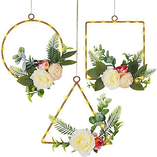 OVBBESS Juego de 3 coronas de aro de flores, peonías artificiales de eucalipto con luces, para fiestas de despedida, sala de estar y baño