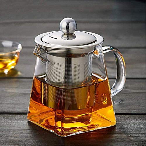 Teapot, Teapot Clear Glass Fair Cup Borosilicate Glass Tea Pots Stainless Steel Infuser & Lid Direct heating Kung Fu Teapot Large capacity Tea and Coffee -350ML/550ML, 550ml