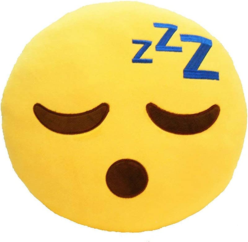 LynnWang Design Emoji Pillow For Girls Round Back Cushion Pillow Emoticon Plush Decorative Toy Pillow For Kids Bedding Living Room Bedroom Nursing Home Kindergardern Sleeping Face