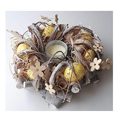 Osterkranz aus Naturmaterialien und Duftkerze Tischdekoration für Ostern Osterschmuck Osterdeko schöne Dekofigur zu Ostern (weiß)
